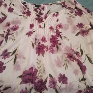 Torrid size 0 seethru white with purple flowers